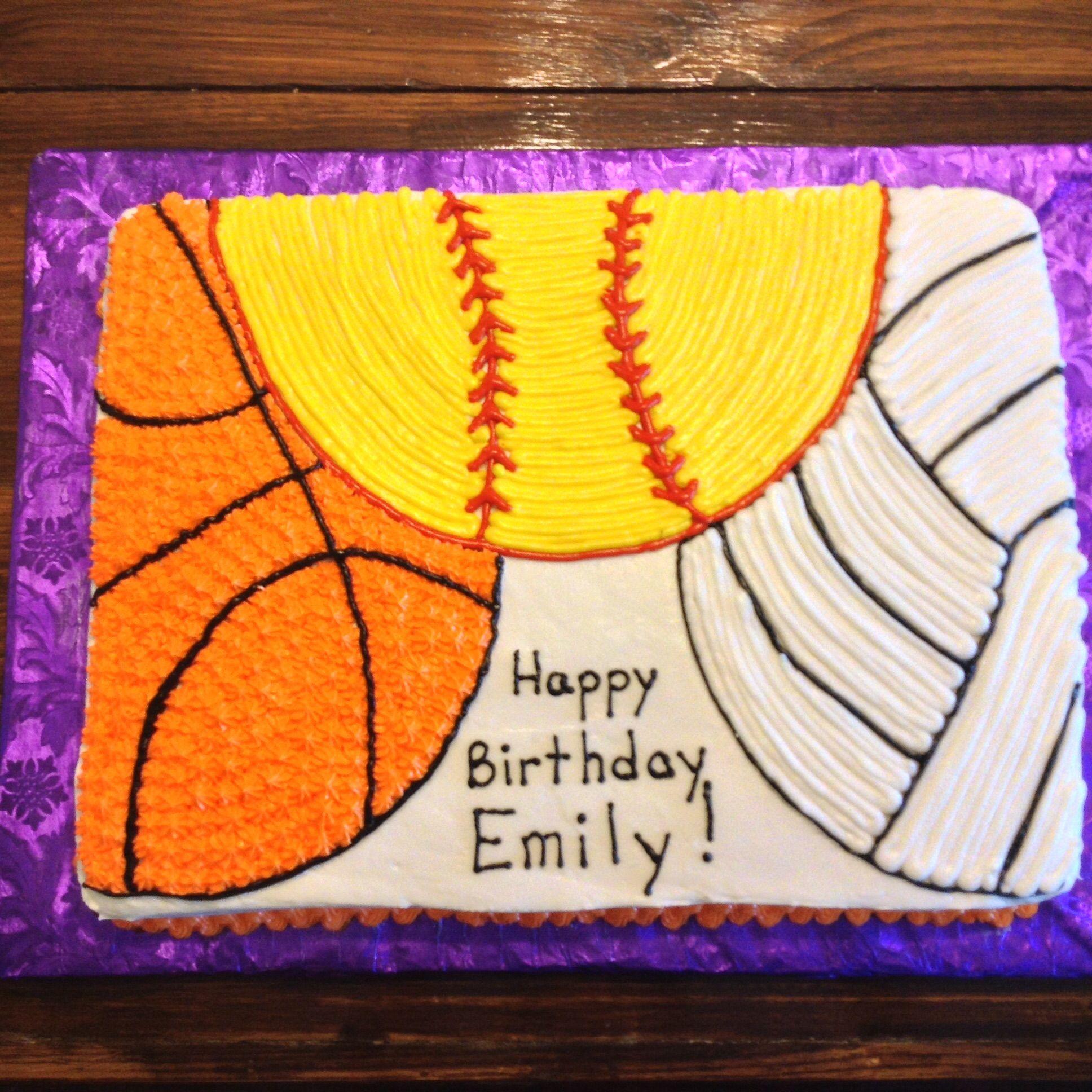 Basketball Volleyball And Softball Cake Softball Birthday Cakes Volleyball Birthday Cakes Girl Cupcakes