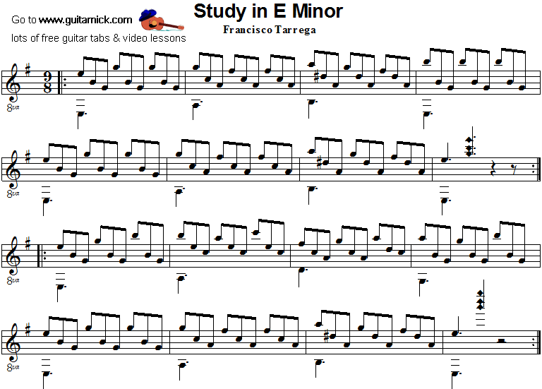 Study In E Minor Tarrega Classical Guitar Sheet Music Basic Guitar Lessons Classical Guitar Sheet Music Guitar Lessons For Beginners