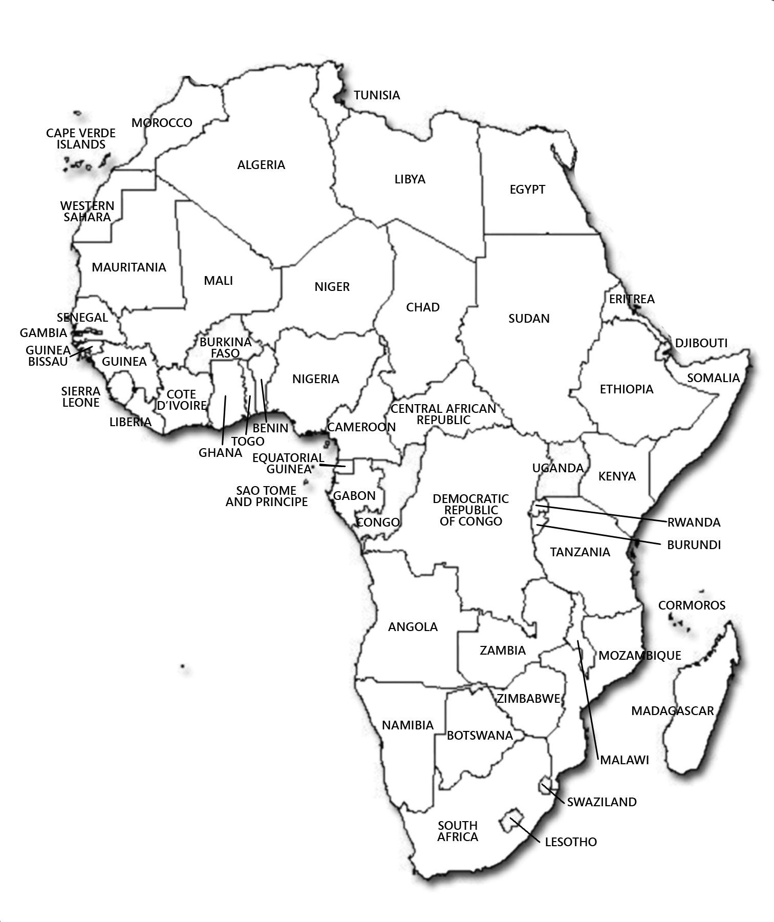 Large Detailed Contour Political Map Of Africa