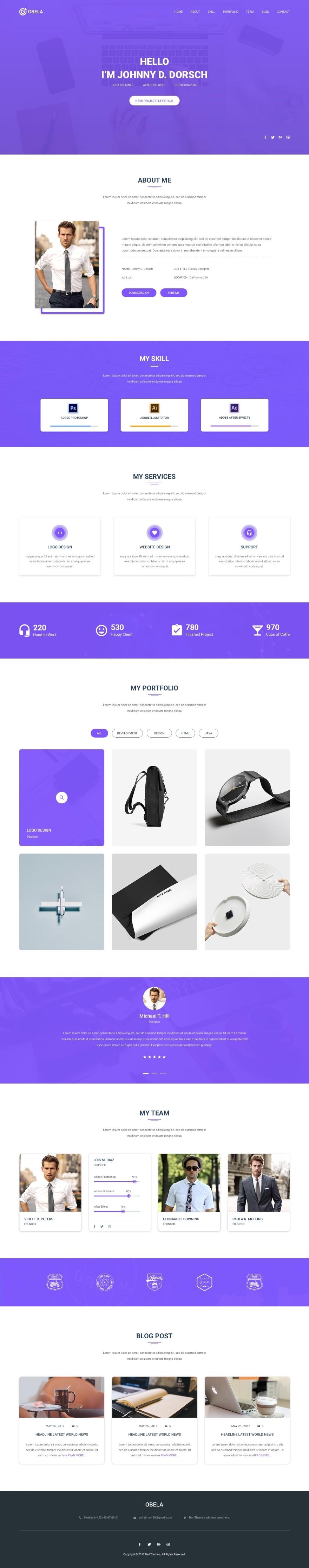 Violet Portfolio Free PSD Template Psd templates