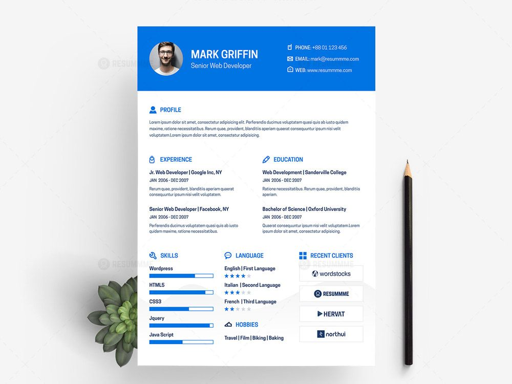 Free Web Developer Resume Template With Elegant And Minimal Design It Is Available In Xd File Format It In 2021 Web Developer Resume Web Development Resume Template