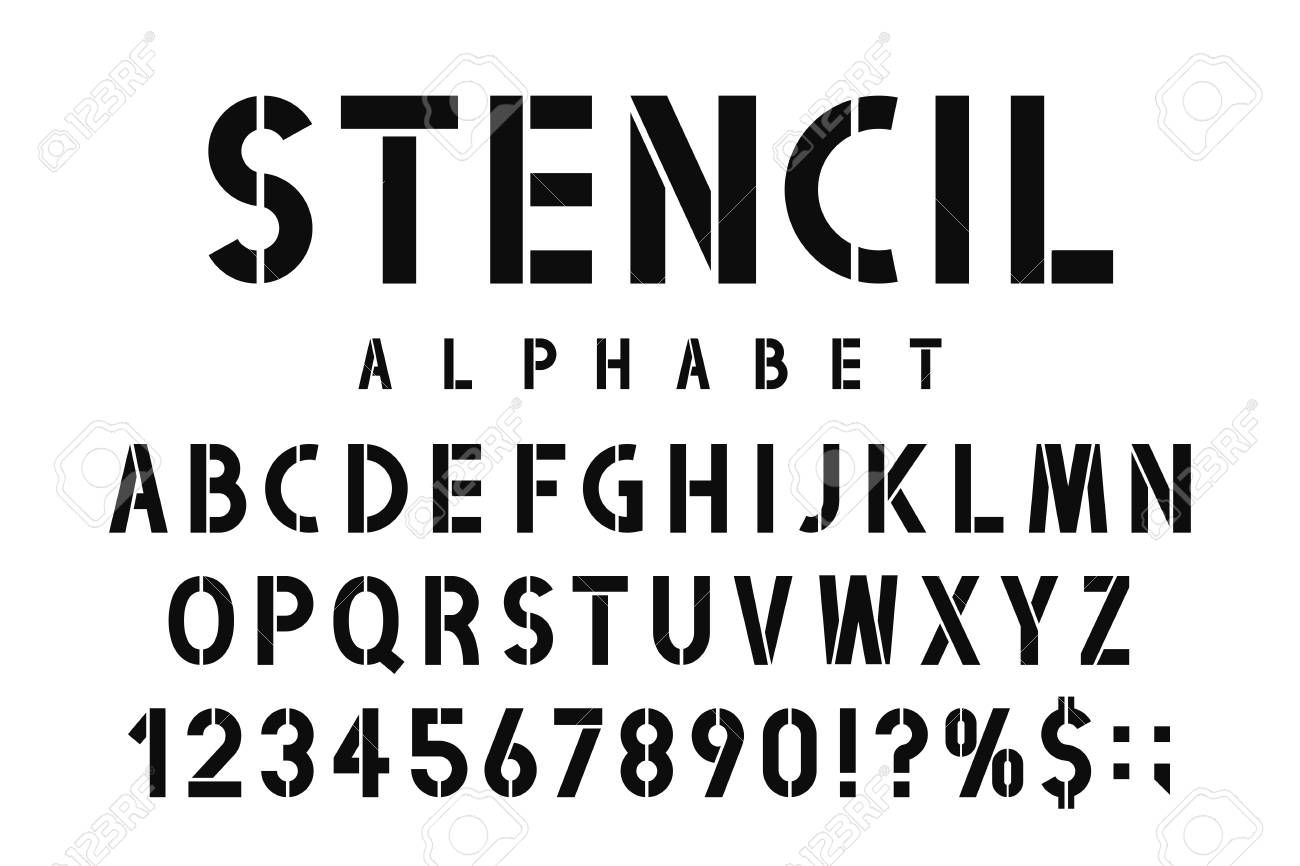 Military Stencil Font Stencil Alphabet With Numbers In Retro Army