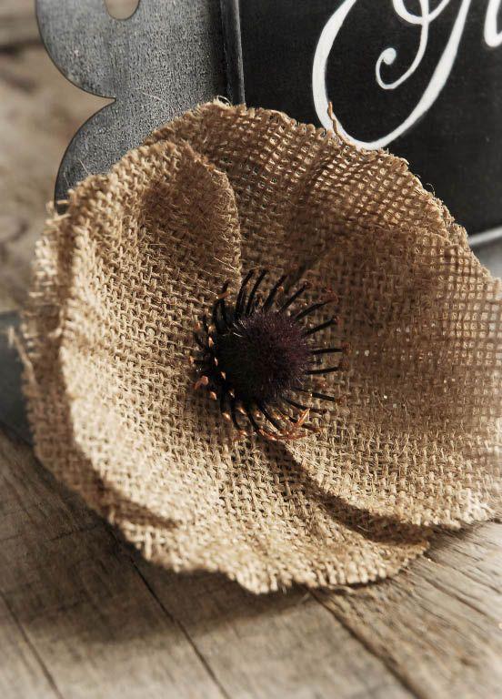 Burlap Poppy Flower