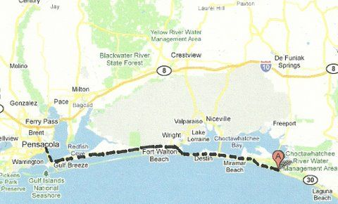 Florida Backroads Travel map of route along Gulf of Mexico beaches
