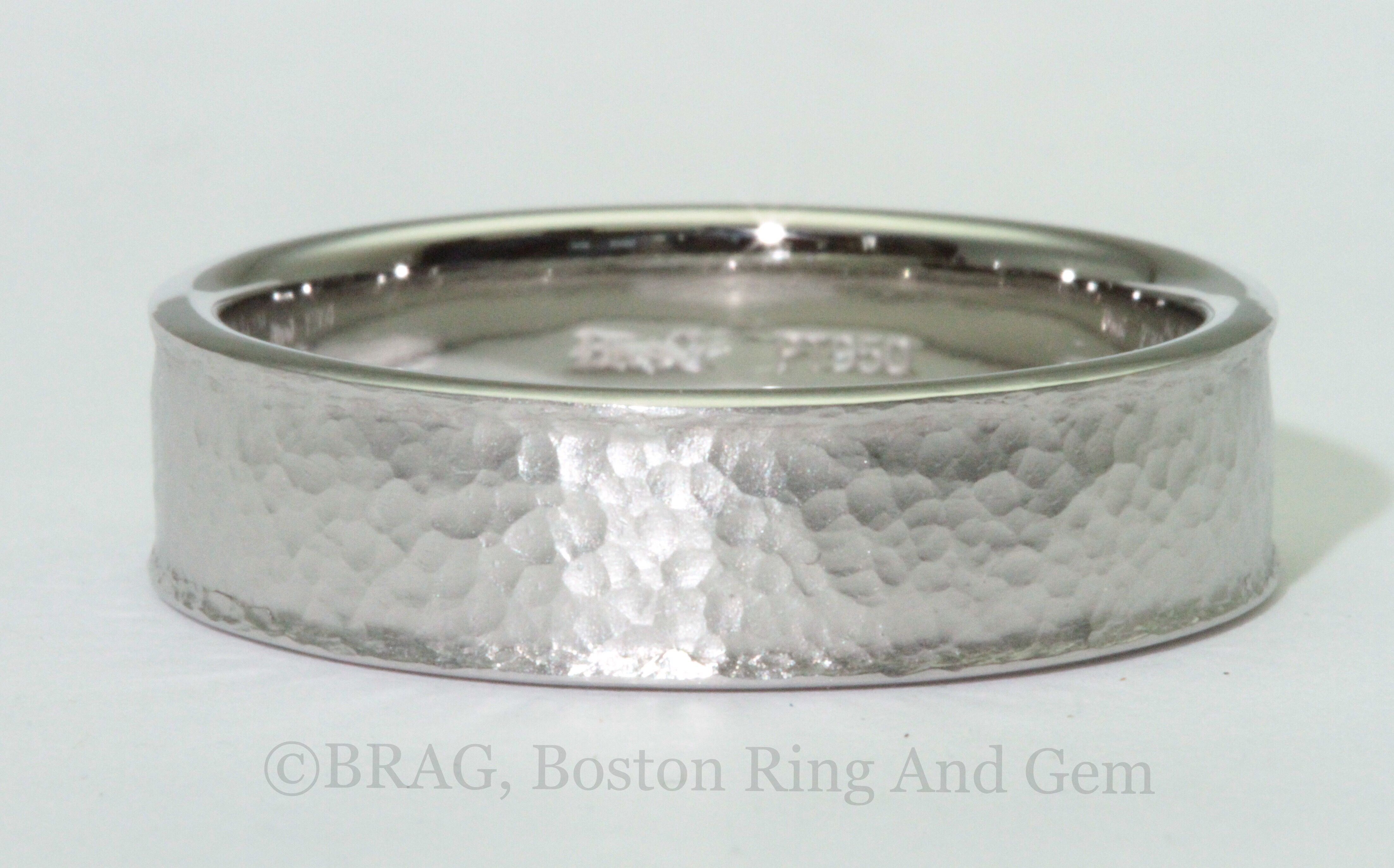 Platinum 7 mm wide flat with curved lip edge men's wedding