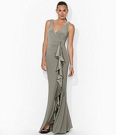 Lauren Ralph Lauren Sleeveless Cascading Ruffle Gown #Dillards ...