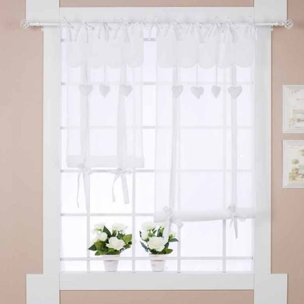 rideau store shabby chic c ur 60 x 180 cm blanc mariclo brises bise stores rideaux. Black Bedroom Furniture Sets. Home Design Ideas