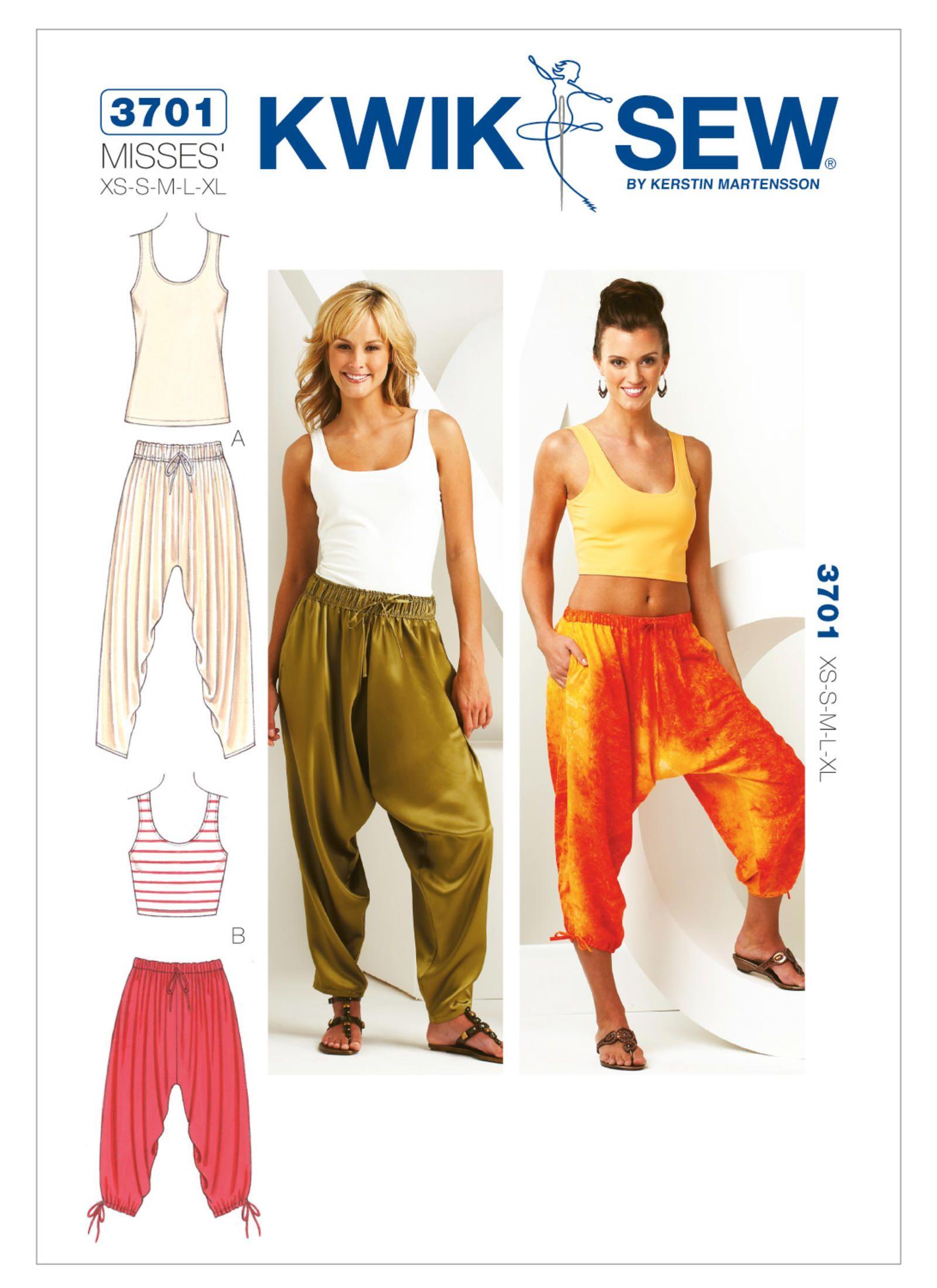Harem Pants & Tops Sewing Pattern~2 Styles (Sizes XS-XL) Kwik Sew ...