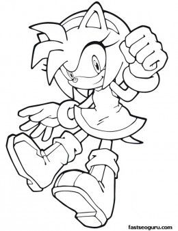 Free Printable Sonic The Hedgehog Amy Rose Coloring In Sheets For