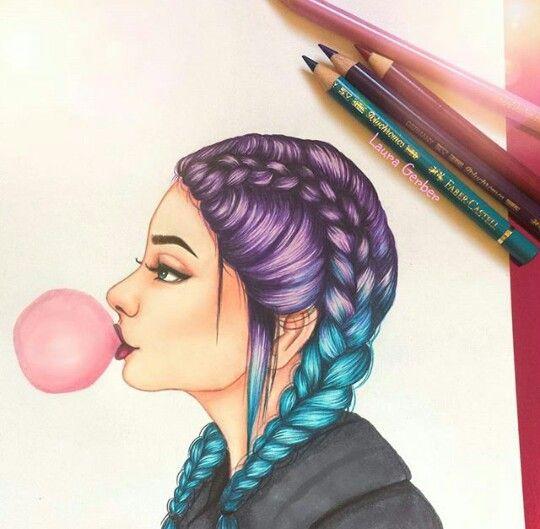 Chica con trenzas de colores dibujos pinterest - Chicas con trenzas ...