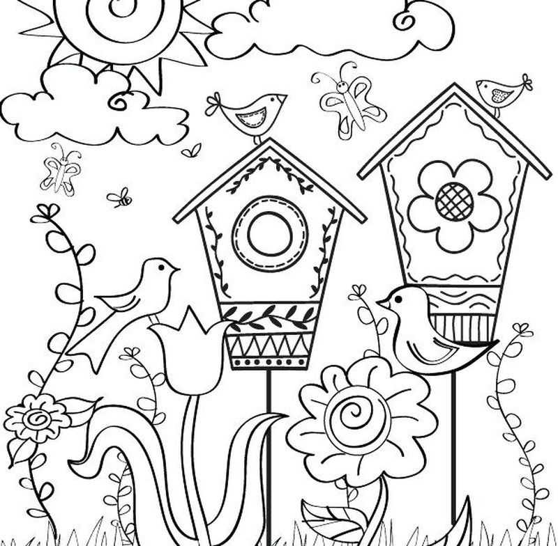 Spring Coloring Pages Easy Spring Coloring Sheets, Spring Coloring Pages, Coloring  Books