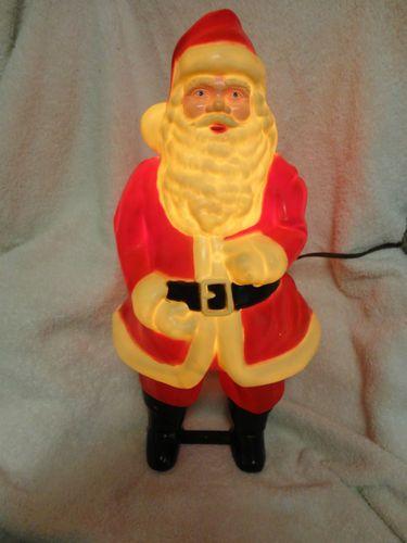 Vintage Hard Plastic Light Up Santa Claus Christmas
