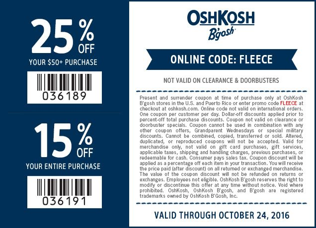 Pinned October 23rd 15 25 Off At Oshkoshbgosh Or Online Via Promo Code Fleece Thecouponsapp Free Printable Coupons Shopping Coupons Oshkosh
