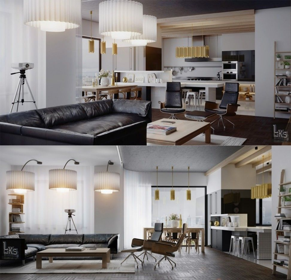Apartment, Leks Architects Kiev Apartment Wonderful Open Plan Kitchen  Dining Living Double Feature: Glamorous · Apartment InteriorApartment  DesignStudio ... Nice Look