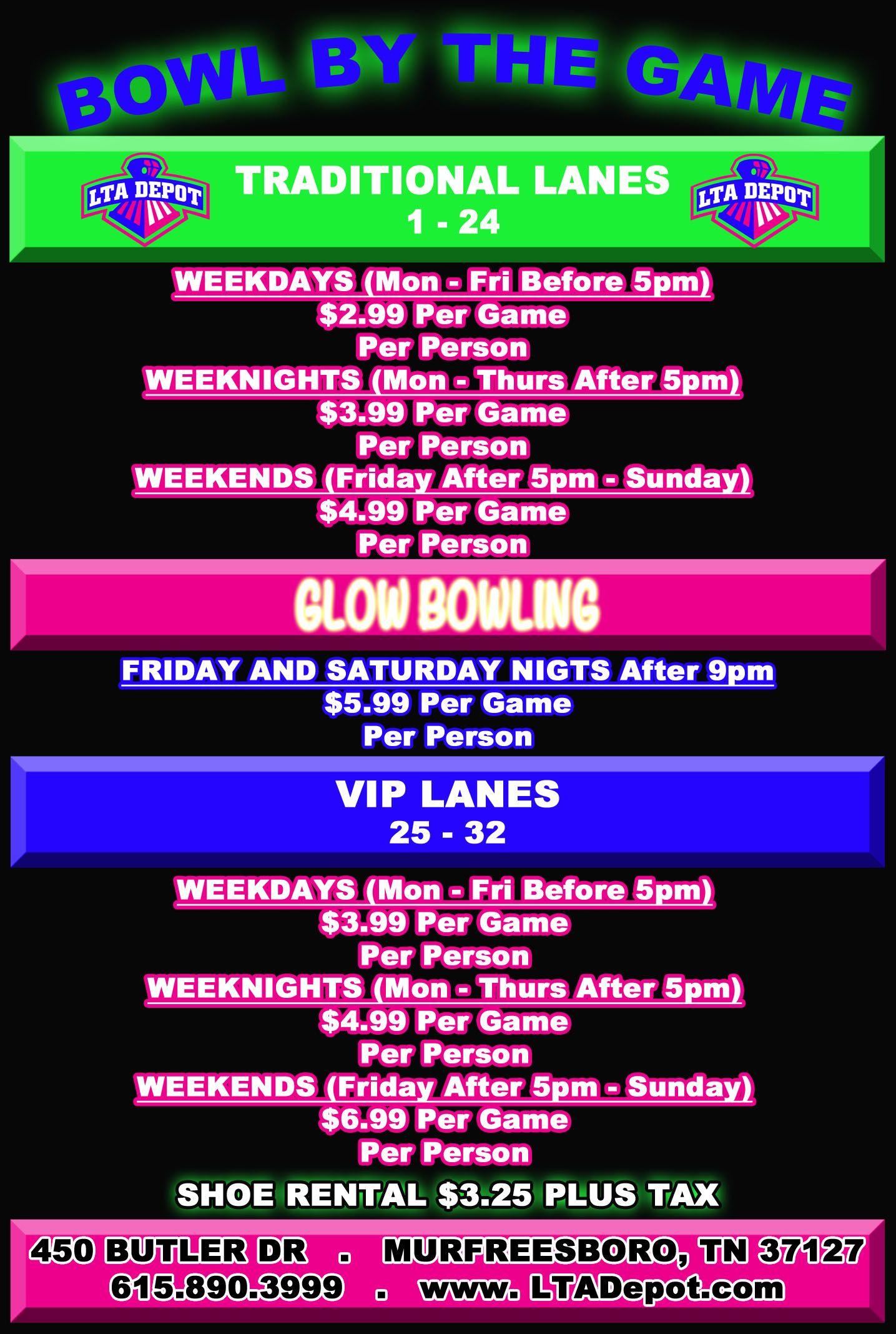 Lanes Trains Automobiles Entertainment Depot Information Bowling Rates Bowling Glow Bowling Bowl Game