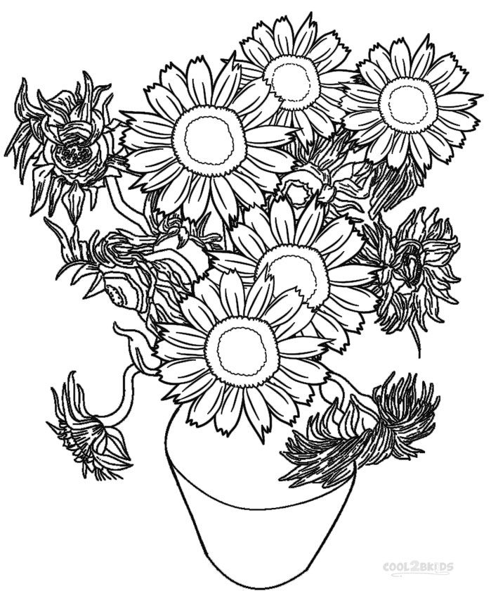 printable sunflower coloring pages for kids cool2bkids - Detailed Sunflower Coloring Pages