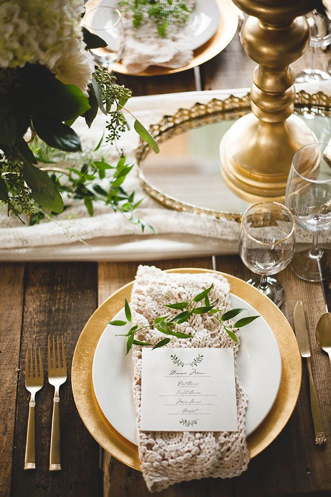 Wedding tablescape with gold details