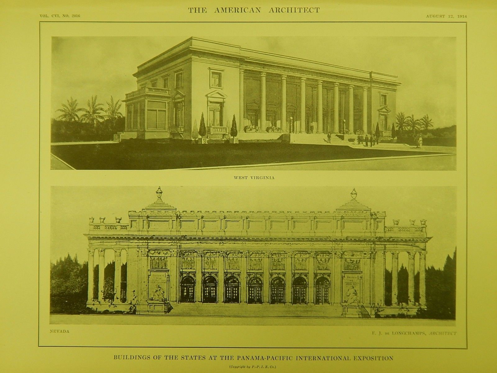 WV & Nevada Buildings, Panama-Pacific Exposition, San Francisco, CA, 1914, Original Plan. F. J. de Longchamps