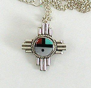 Vintage NOS sterling silver and Inlay Sunface pin pendant with chain