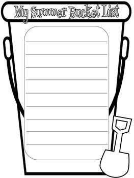 sand bucket template - end of the year summer writing bucket list end of the