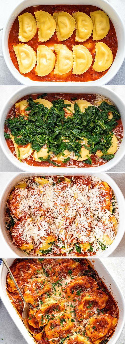 Easy Tomato Spinach Ravioli Bake