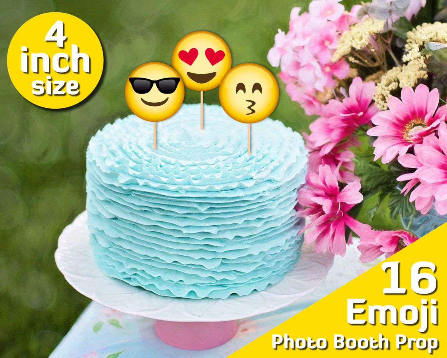 Printable cake topper birthday emoji party 4 inch 10th birthday