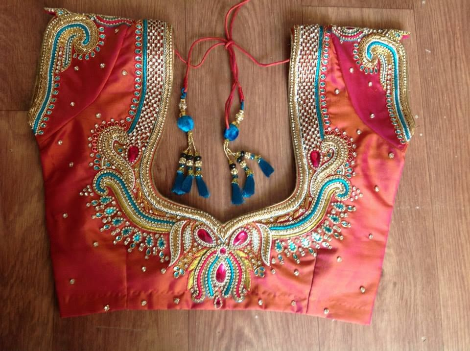 Embroidery stone blouse back necks for south indian brides