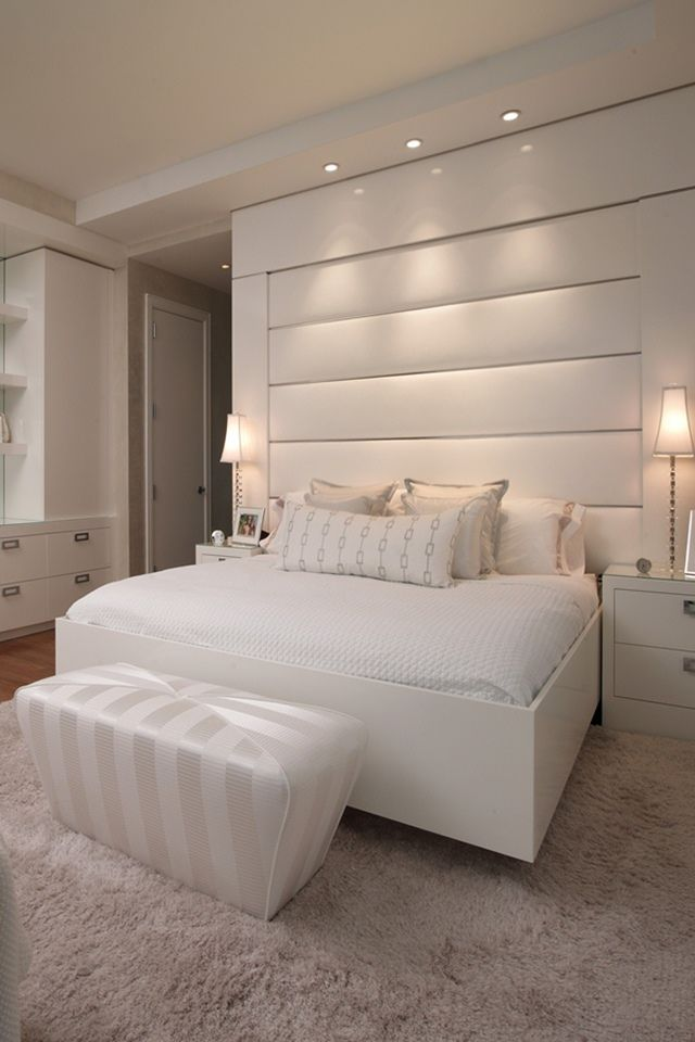 d coration int rieure chambre bedroom blanc pur white moderne pur id e inspiration. Black Bedroom Furniture Sets. Home Design Ideas