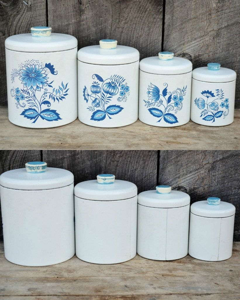 Ransburg Canister Set White Blue Onion Set Of Four 4 With Lids 1950 S Canister Sets Blue Onion Vintage Canisters