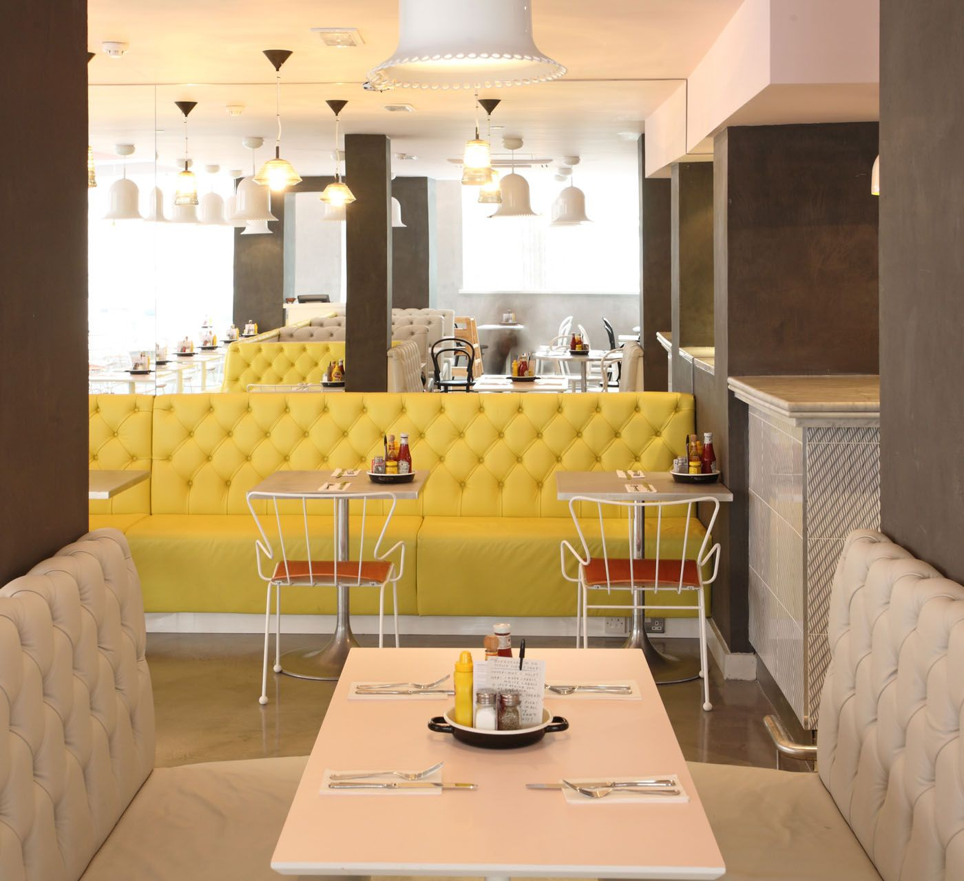 Love the pink yellow and grey colour scheme at byron