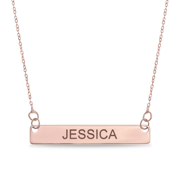 Uppercase Name Bar Necklace In 10k Rose Gold 1 Line 17 Bar Necklace Gold Name Necklace 14k Gold Necklace