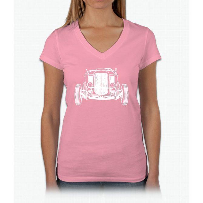 Hot Rod Womens V-Neck T-Shirt