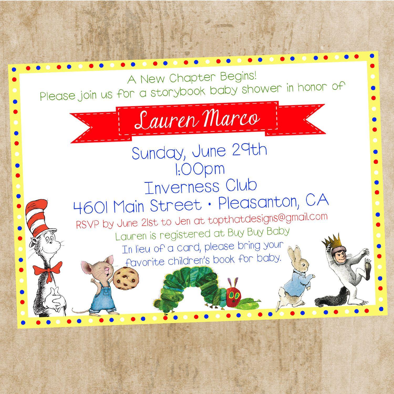 Children\'s Book Themed Baby Shower Invitation by jenleonardini ...