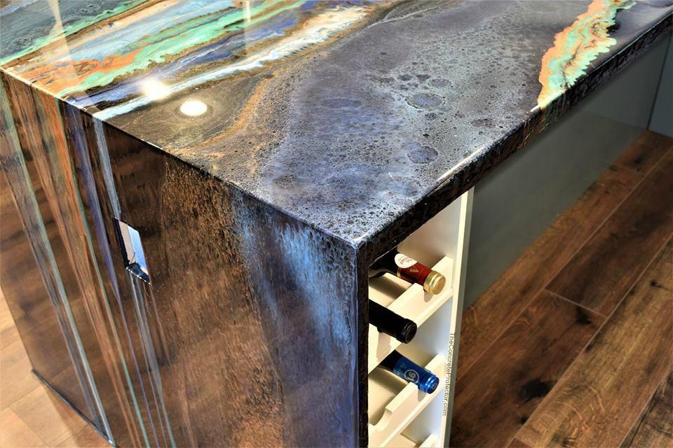 Metallic Marble Countertop Artisan Concrete Surfaceworks Houston Tx Concrete Countertops Diy Concrete Countertops Diy Countertops
