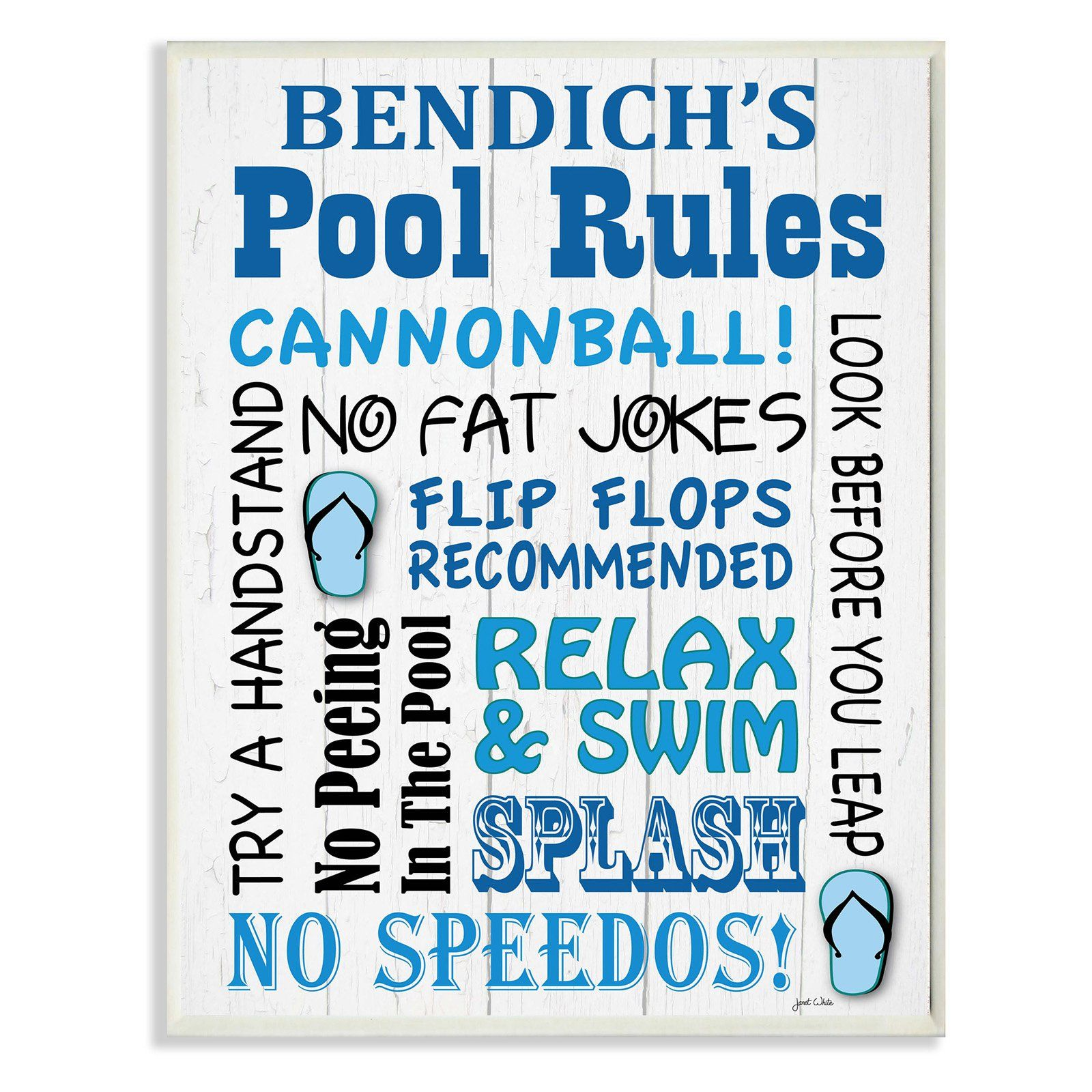 The Stupell Home Decor Collection Personalized Pool Rules Cannonball ...
