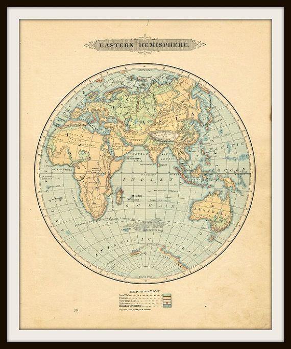 Antique world map 1885 eastern hemisphere digital download buy 1885 antique world map eastern hemisphere by knickoftime gumiabroncs Gallery