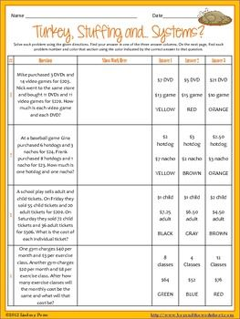 This activity allows Algebra students to practice solving systems of equations in a fun way with a Thanksgiving theme. There are 9 word problems that have three choices each. To prevent students from simply substituting answers to solve the system, there is a space requiring them to show their work. Answer key included.