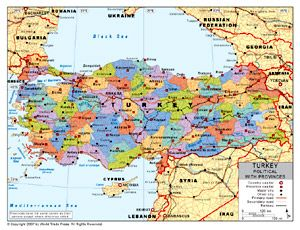 Political Map Of Turkey With Provincial State Boundaries Italy