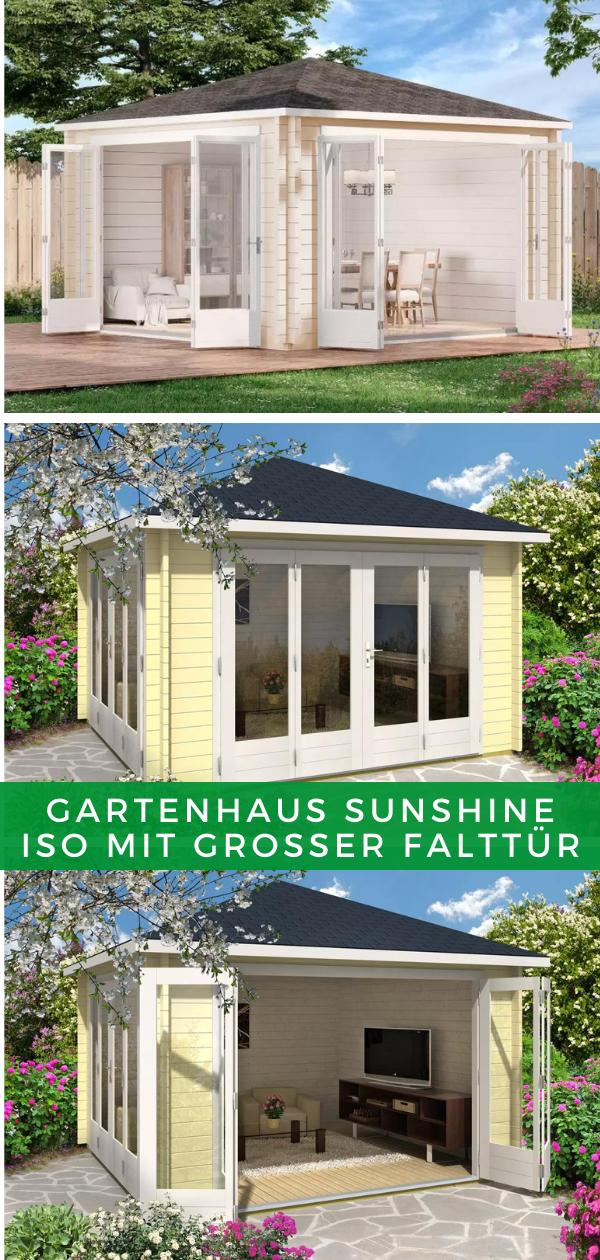 Gartenhaus Sunshine Iso Mit Grosser Falttur In 2021 Gartenhaus Gartenhaus Modern Uberdachung Garten