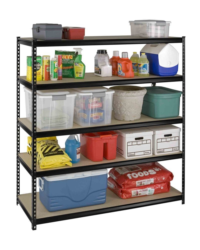 5 Shelf Heavy Duty Riveted Storage Rack With Particle ...