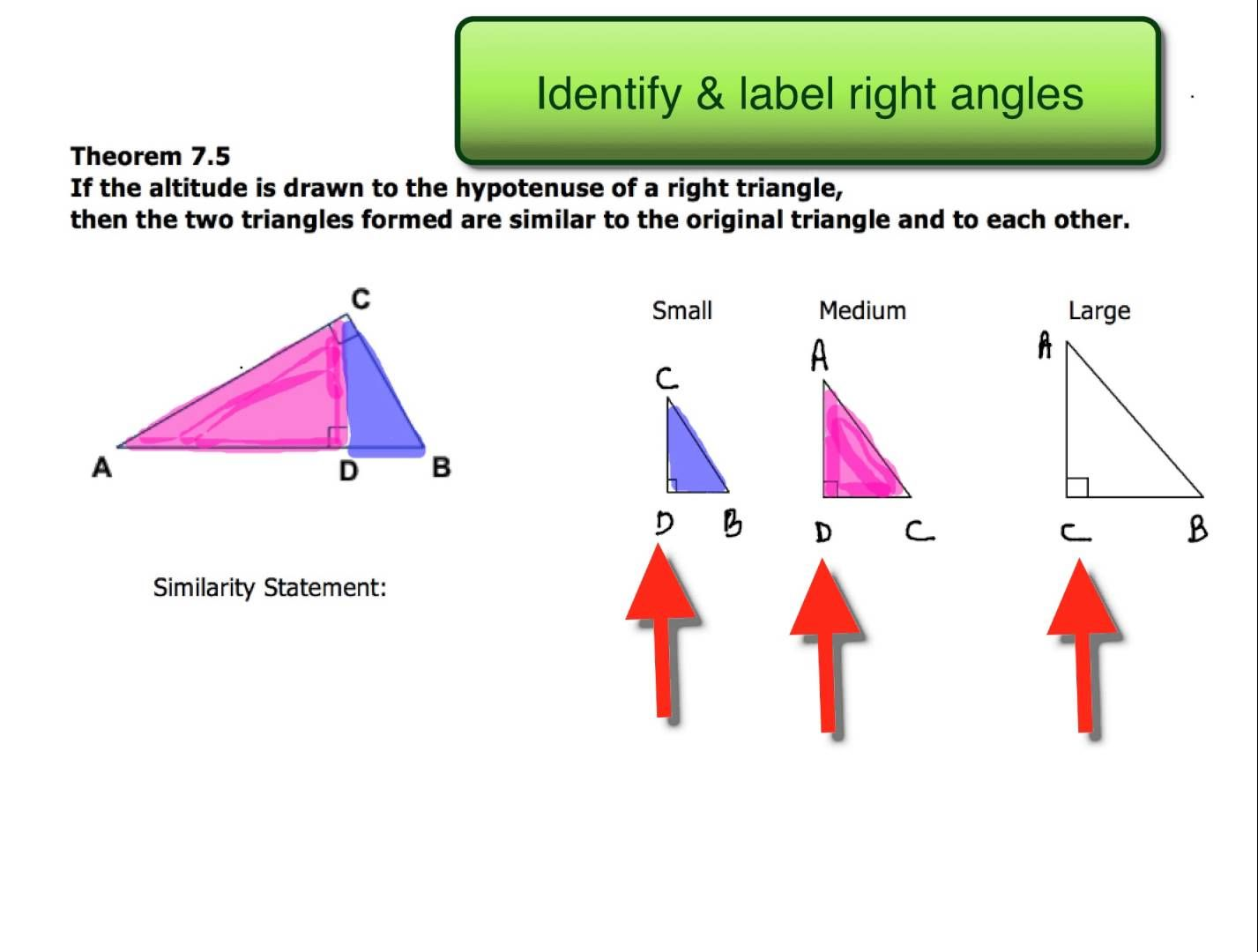 7 3 Similar Right Triangles Ex 1 Writing A Similarity Statement Right Triangle Triangle Worksheet Sight Word Worksheets