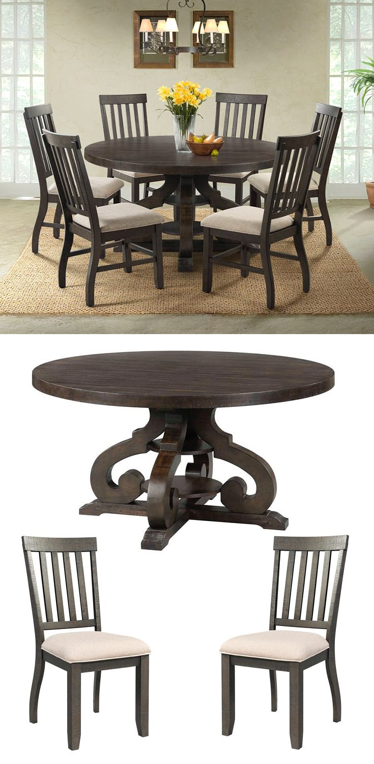 This round dining table set will be an excellent centerpiece in ...