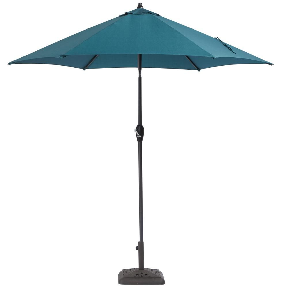 Hampton Bay 9 ft. Aluminum Patio Umbrella in Charleston with tilt ...