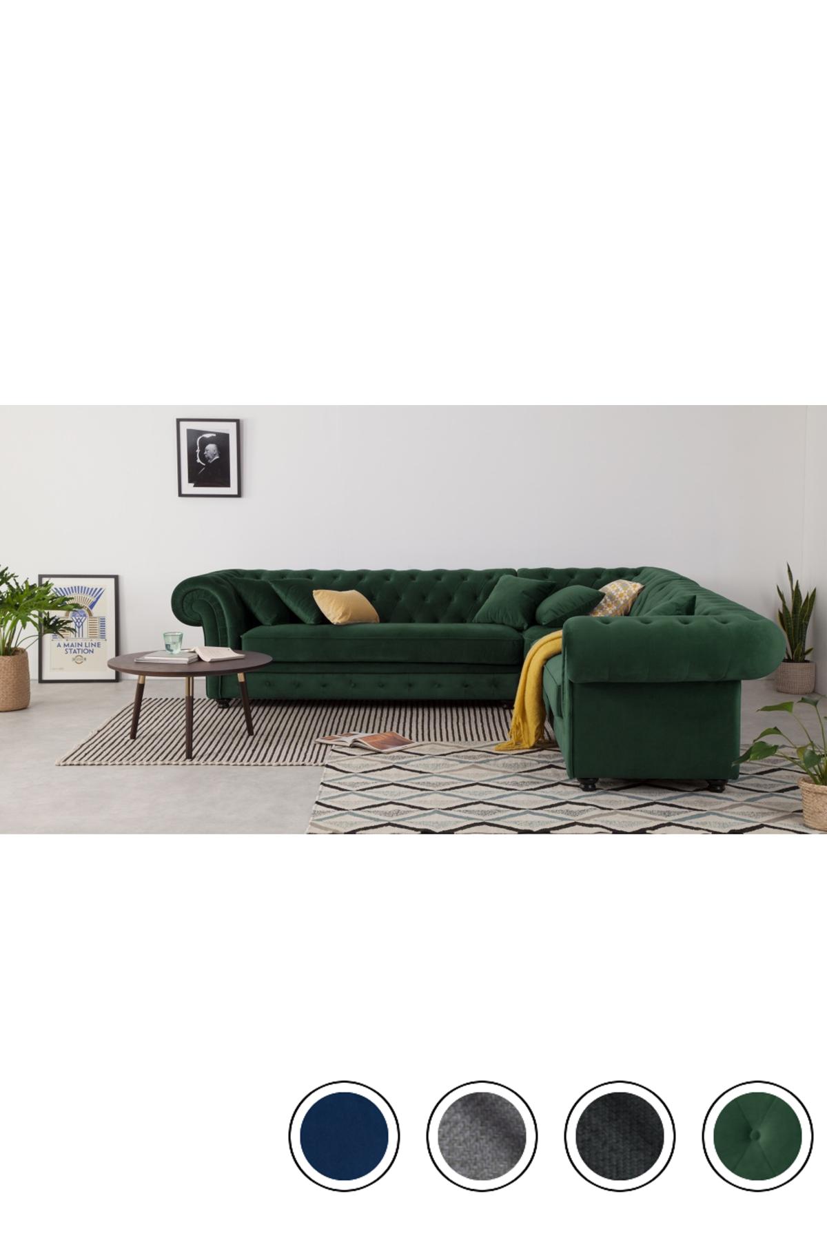 Branagh Corner Sofa Pine Green Velvet Corner Sofa Living Room Green Corner Sofas Green Sofa Living Room