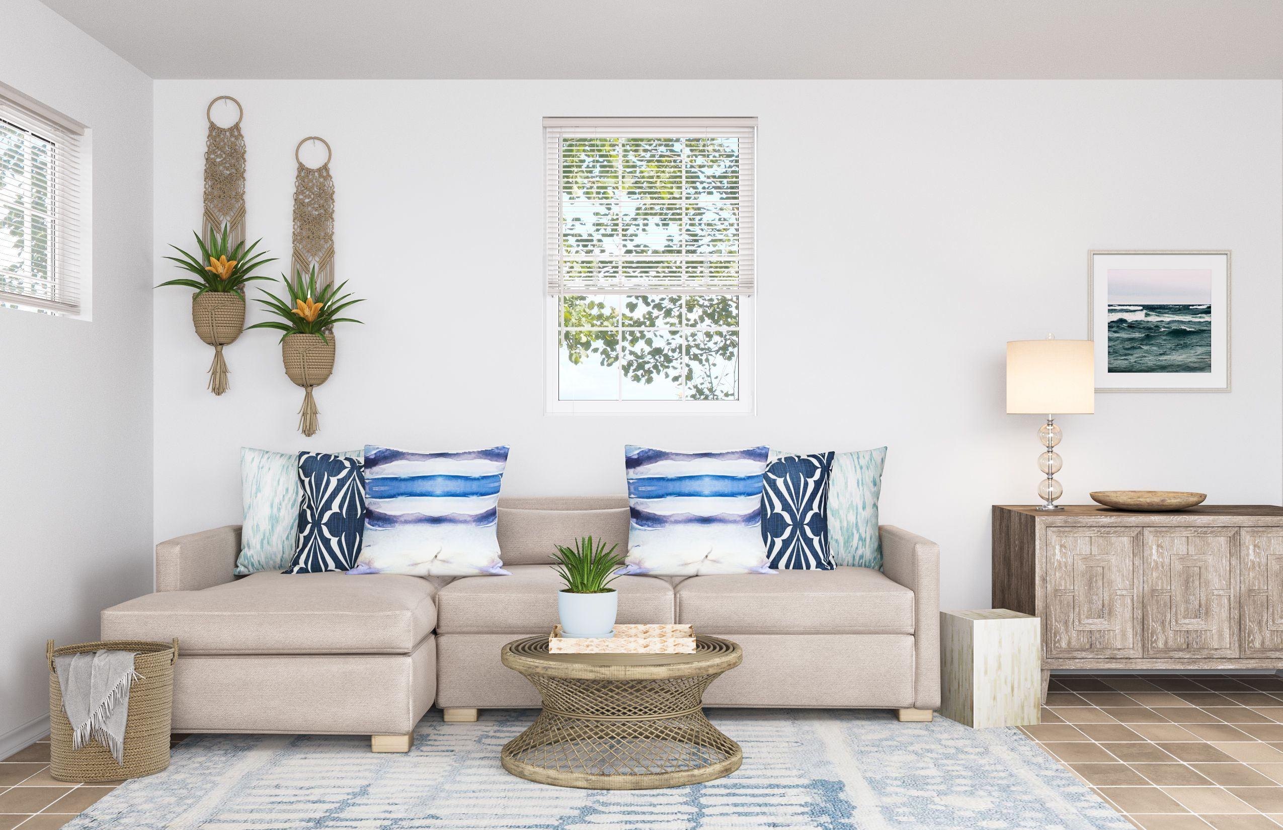 Coastal, Transitional Living Room Design by Havenly Interior Designer Leah #havenlylivingroom Coastal, Transitional Living Room by Havenly #havenlylivingroom