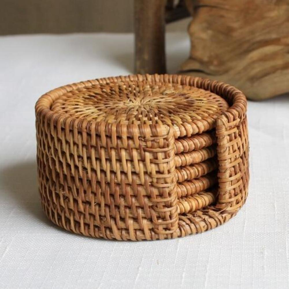Rattan Round Coasters Handmade Table Placemats 3 4 5 Or 6 Paper Basket Weaving Paper Basket Basket Weaving