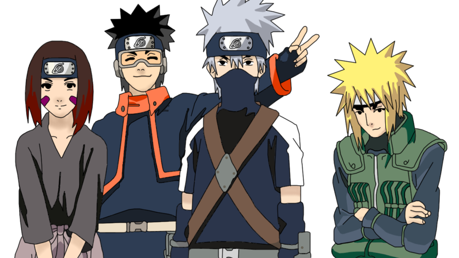Kakashi Lineart : Minato s team lineart and coloring by me i totally screwed up