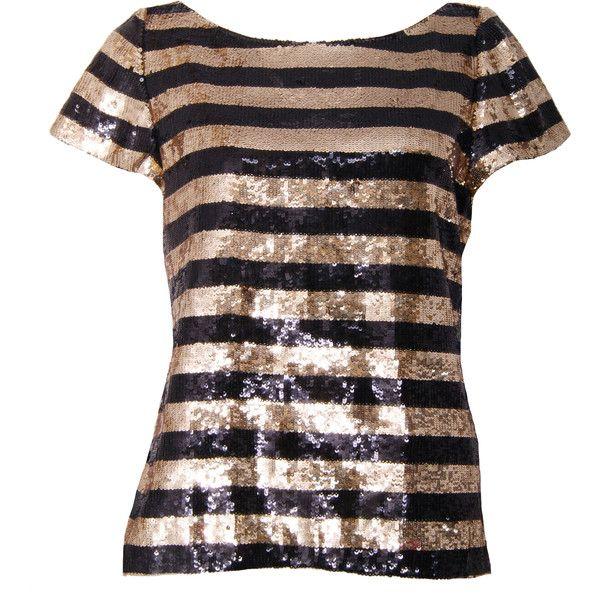 Pre-owned Alice + Olivia Alfie Oversized Sequin Top. Black/Gold ...