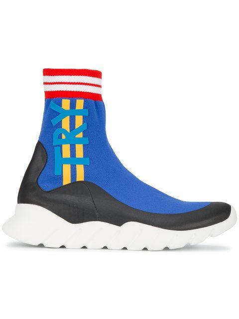Fendi Knitted Sock Sneakers In Blue