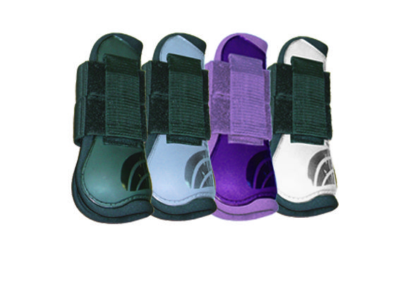 Shedrow Open Front Boots *Pony Alert*- Anatomically molded and lined for fit and comfort, rigid outer Polyurethane construction provides solid protection in strike zone. Lightweight with secure band elastic for adjusting locking Velcro straps. Water resistant.  Colors: Pony size - Black, Light Blue, Purple or White MSRP $39.99 Matching Ankle Boots $29.99 EquestrianBrandsInternational.com